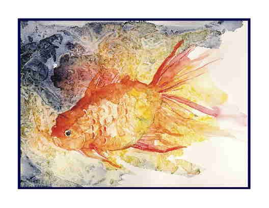 Eight Watercolor Goldfish Greeting Note Cards Notecards