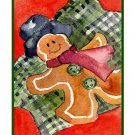 Eight Watercolor Christmas Gingerbread Man Greeting Note Cards Notecards