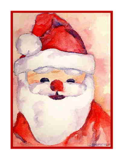 Eight Watercolor Christmas Santa Claus Greeting Note Cards Notecards