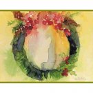 Eight Watercolor Christmas Wreath Greeting Note Cards Notecards