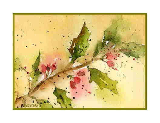 Watercolor Christmas Holly Greeting Note Cards Notecards