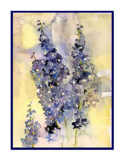8 Watercolor Delphiniums Greeting Note Cards Notecards