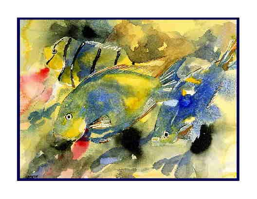 8 Watercolor Tropical Fish Greeting Note Cards Notecards