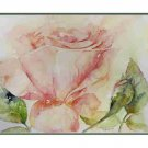 8 Watercolor Pink Rose Greeting Note Cards Notecards