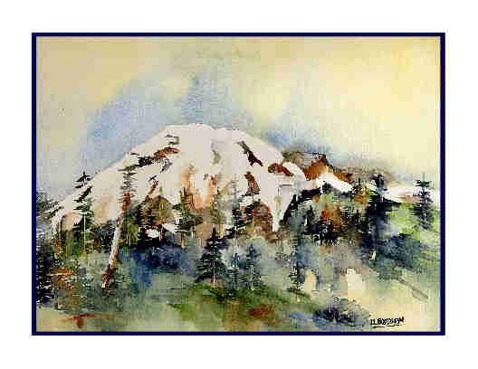Watercolor Mount Adams Greeting Note Cards Notecards