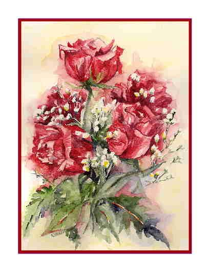 8 Watercolor Love is Roses Greeting Note Cards Notecards