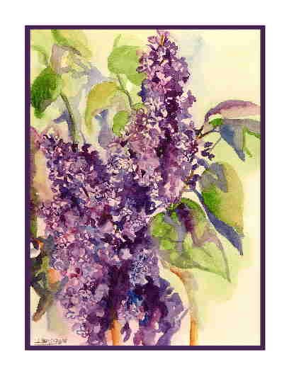 Watercolor Purple Lilacs Greeting Note Cards Notecards Set of Eight
