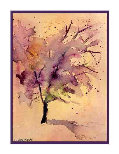 Set of Eight Watercolor Forsaken Tree Greeting Notecards Note Cards