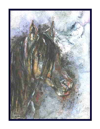 Watercolor, Acrylic, Ink, Mixed Media Arabian Horse Set of 8 Notecards Greeting Note Cards