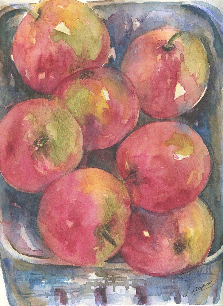 Original Watercolor, Ink Basket of Apples Painting
