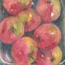 Original Watercolor, Ink Basket of Apples Painting