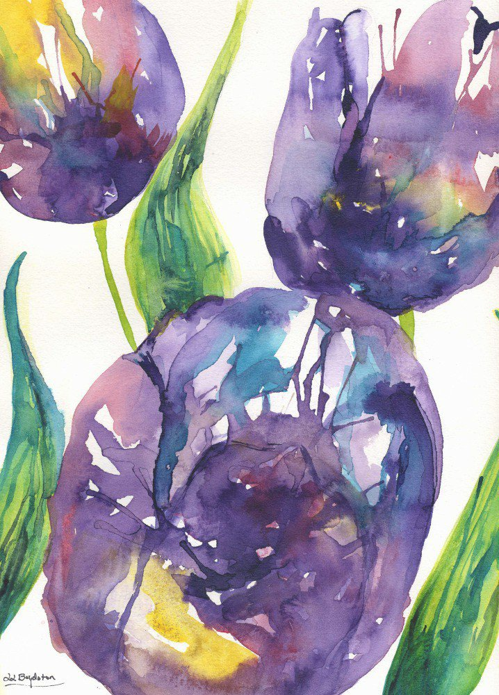 Original Watercolor and Ink Abstract Tulips Painting