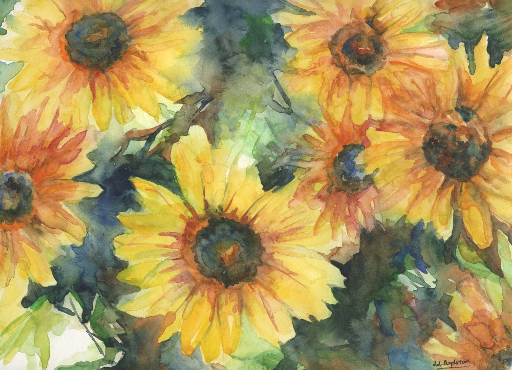 Original Watercolor Yellow Bunches of Flowers Painting