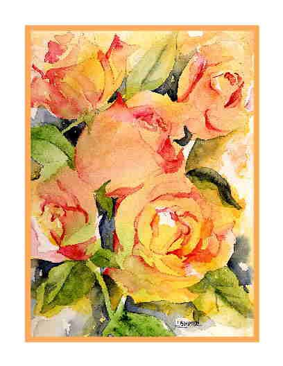 8 Watercolor 5 Roses Note Cards Notecards