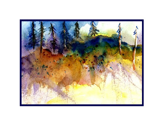 8 Watercolor Edge of Woods Notecards Note Cards