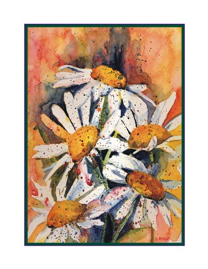 8 Watercolor Five Daisies Notecards Note Cards