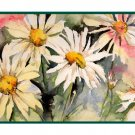 Watercolor 8 Four Daisy Note Cards Notecards