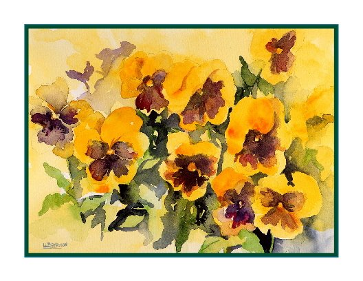 8 Watercolor Yellow Pansies Note Cards Notecards