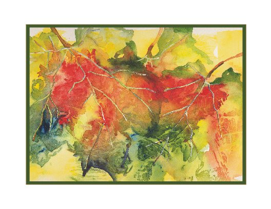Watercolor Grape Leaves Note Cards