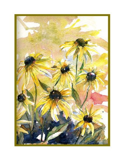 Set of Eight Yellow Cone Flowers Note Cards
