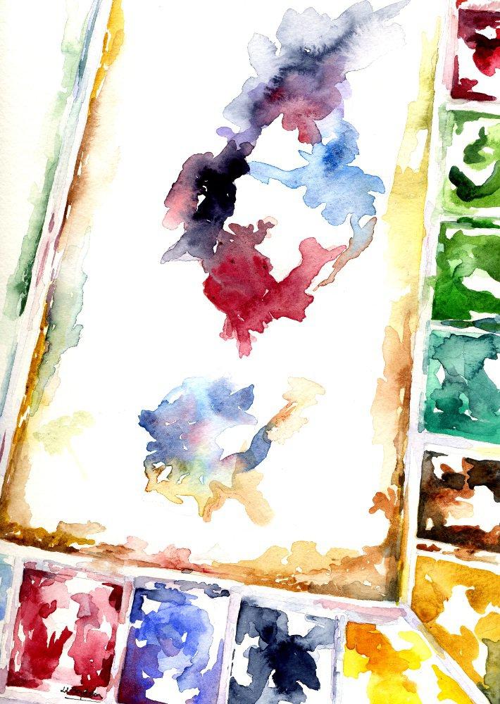 Original Watercolor Painter's Palette Painting