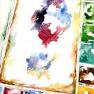 Original Watercolor Painter's Palette Painting