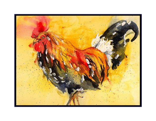 Watercolor Rooster Notecards Note Cards