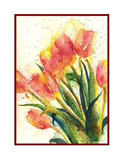 Watercolor Tulip Bouquet Note Cards
