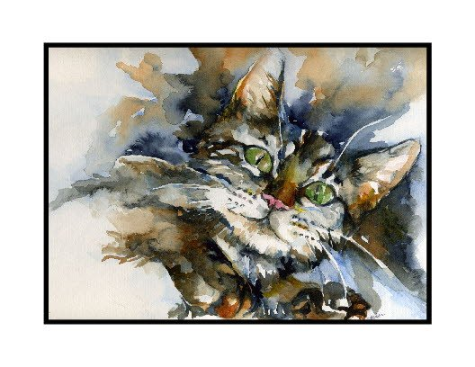 Watercolor Green-Eyed Tiger Cat Note Cards