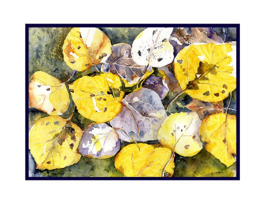 Fall Aspen Leaves Watercolor Note Cards