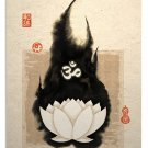 White Lotus Om Symbol Oriental Asian Art Print