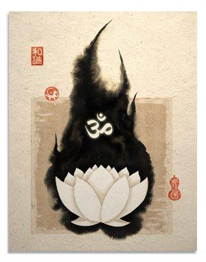 White Lotus Om Symbol Oriental Asian Art Print