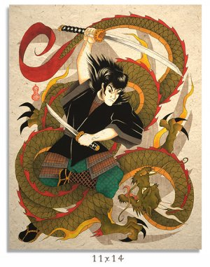 Asian Japanese Art Print Samurai vs Dragon