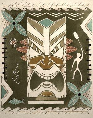Tropical Hawaiian Tiki God Tribal Art Print