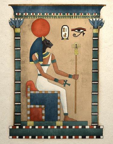 Egyptian Art Print Ancient Cat Goddess Bastet Wall Decor