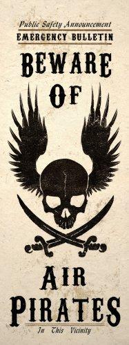Steampunk Beware Of Air Pirates Skull Wall Poster