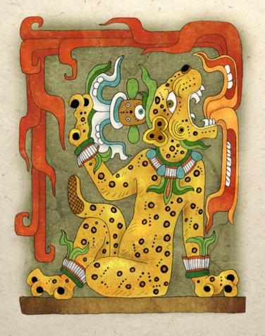 Ancient Aztec Jaguar God Art Print Mayan