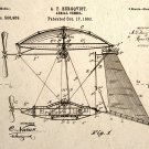 Steampunk Wall Art Aerial Vessel Airship Patent Design Drawing