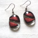 Glass earrings, handmade, fused dichroic glass earrings, dangle earrings