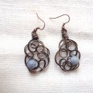 Wire Agate earrings, handmade oxidised copper wire dangle earrings