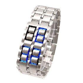 IRON SAMURAI Ladies & Mens Faceless ICE Blue LED Digital Bracelet Watch