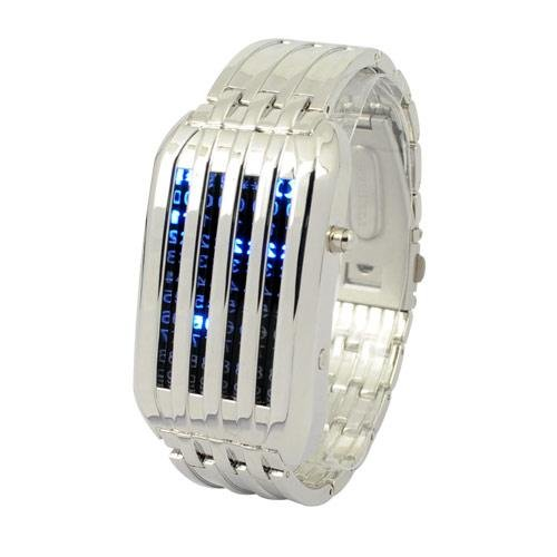 (FREE SHIPPING WITH TRACKING) Silver Mens Meteor Shower 44 Blue LED Wrist Watch