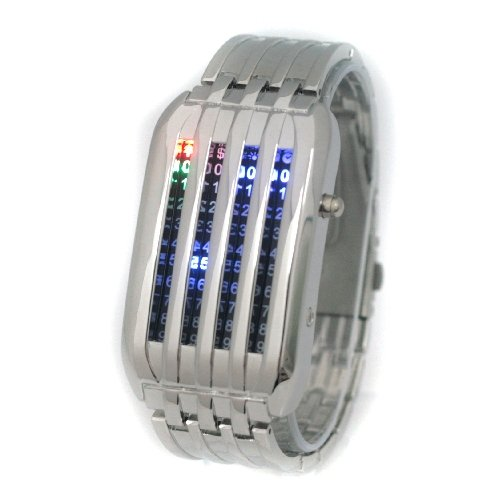 (FREE SHIPPING WITH TRACKING) Silver Mens Meteor Shower 44 Multicolored LED Wrist Watch
