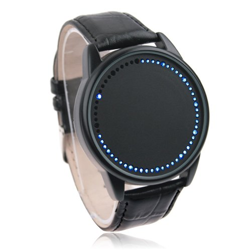 NEW Blue & White Touch Screen Black Leather LED Watch