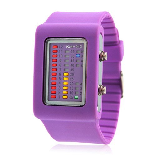 FREE SHIPPING WITH TRACKING - Womens Binary Silicon LED Wrist Watch ( Purple ) FASHION MUST HAVE