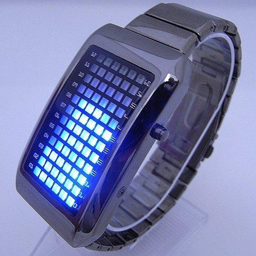 Ladies OR Mens Digital Binary Stainless Steel 72 Blue LED Watch