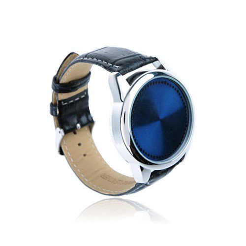 NEW 2013 Blue & Silver Touch Screen Black Leather LED Watch