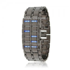 EXCLUSIVE IRON SAMURAI BRACELET BINARY BLINK DIGITAL BLUE LED WATCH - NEW FOR 2014