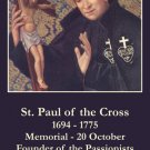 St. Paul of the Cross Prayer Card PC#263