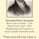 Venerable Pierre Toussaint Prayer Card PC#179